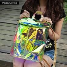 2016 Fashion HARAJUKU Hot Transparent Multicolor Laser Backpack Women Colorful Hologram Laser Holographic Iridescent School Bag(China (Mainland))