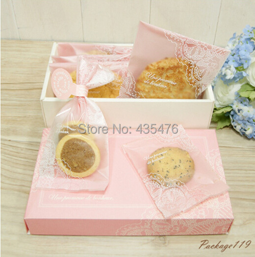 400pcs/lot 9cm*11.5cm Pink Lace Disposable Plastic Top Open Cookie Bags And Packaging Biscuit Packing Party Favors Supply(China (Mainland))