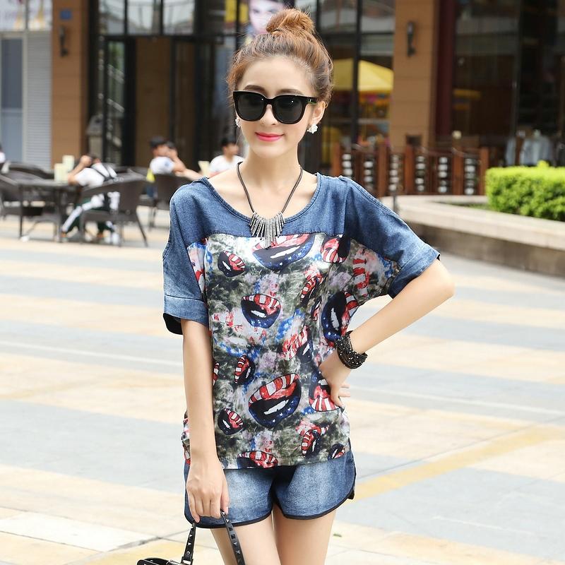 E.Li Fashion 2015 Sport Suit Casual Denim Shirt Top And Shorts Set Summer Style Womens Tracksuits Print Jeans 2 Piece Set Women(China (Mainland))