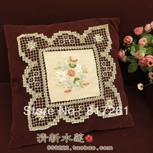 Free shipping beige crochet lace doilies ribbon embroidered square placemat fashion home decoration fabric cotton mat coaster(China (Mainland))