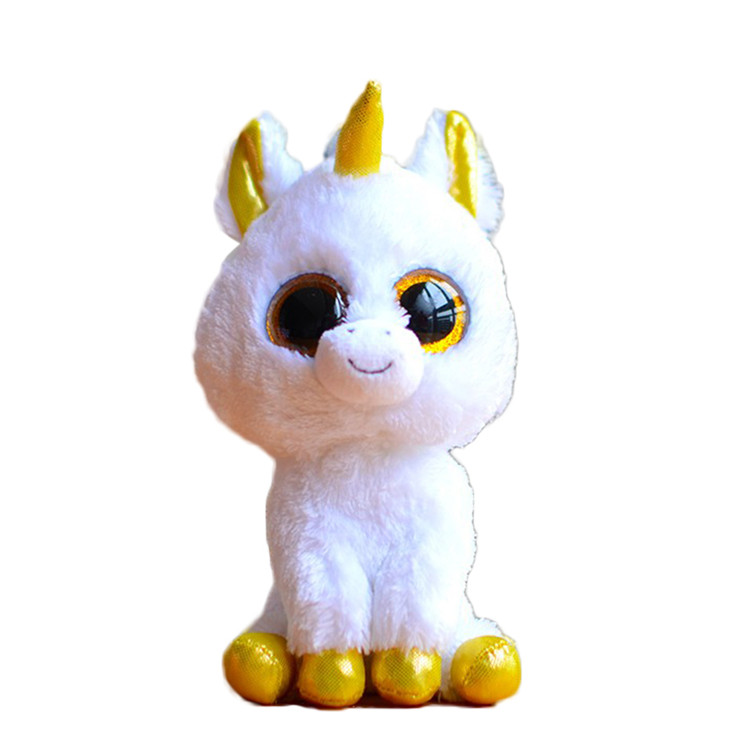Ty Beanie Boos Original Big Eyes Plush Toy Doll Child Brithday 10 - 15cm White Unicorn TY Baby For Kids Gifts(China (Mainland))