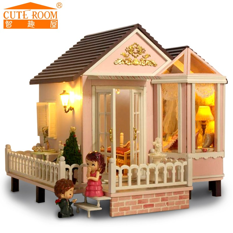 Home Decoration Crafts DIY Doll House Wooden Doll Houses Miniature DIY dollhouse Furniture Kit Room LED Lights Gift A-012(China (Mainland))