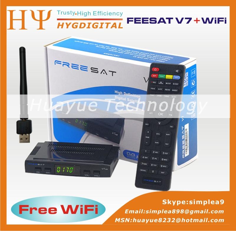 Freesat V7 5pcs HD DVB-S2 free WiFi mini satellite receiver support BISS Key Patch,CCCAM Powervu Youtube Usb wifi(China (Mainland))