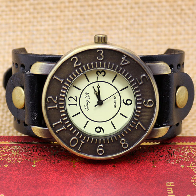 3 Colors Retro Leather Band Bracelet Quartz Wrist Watch Punk Men's Boy's Xmas Gift - Guangzhou Wenhua Technology Co., Ltd. store