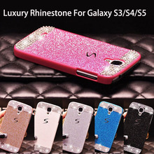 Glitter powder rhinestone bling luxury diamond clear crystal hard back cover For Samsung Galaxy S5 S4 S3 Sparkling Case Cover(China (Mainland))