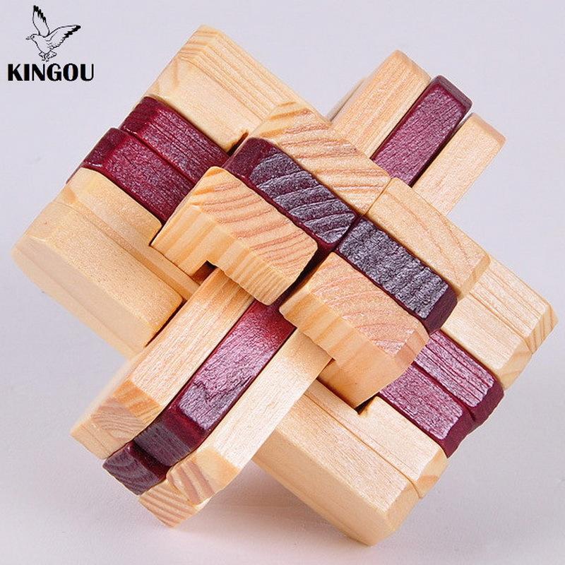 KINGOU Wooden Double Color Logic Puzzle Burr Puzzles Brain Teaser Intellectual Removing Assembling Toys(China (Mainland))