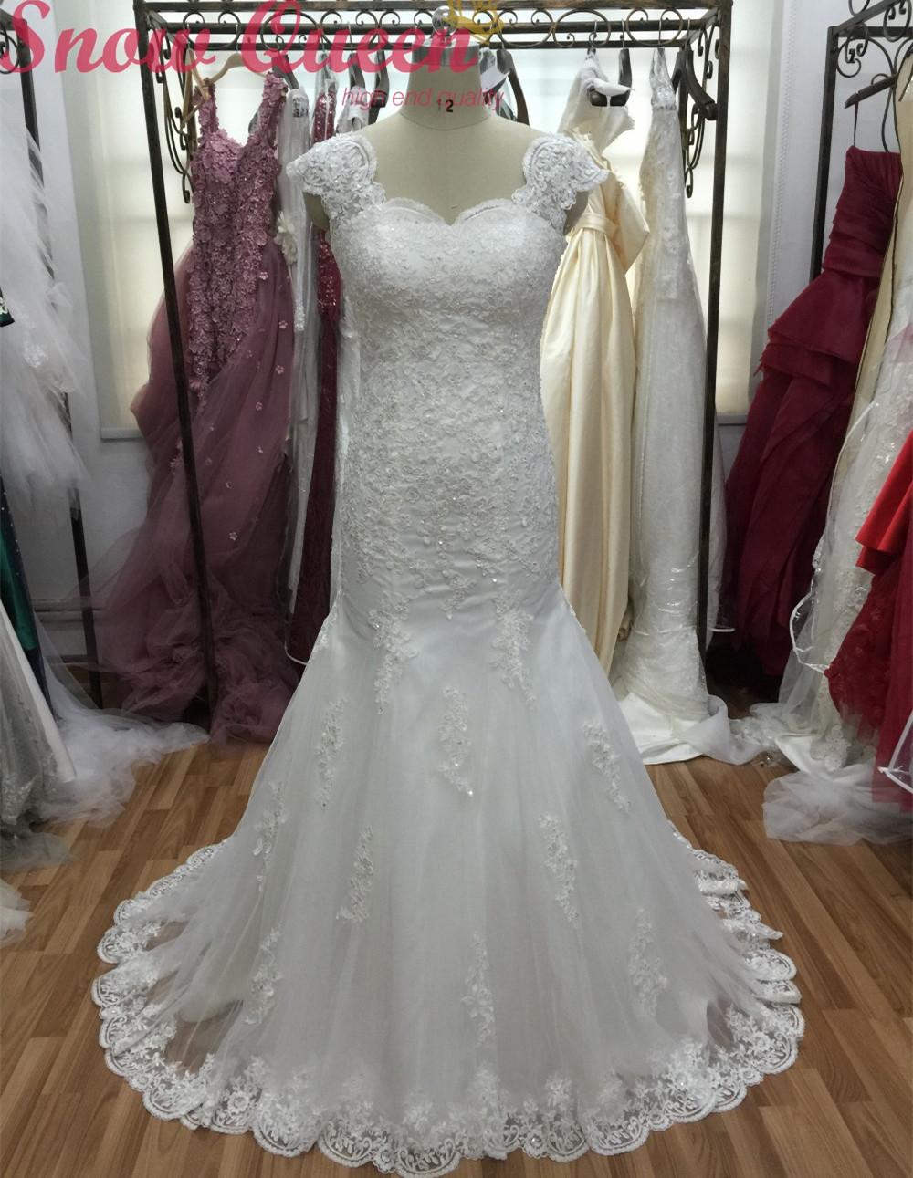 Real Fotos Da Sereia Vestidos de Casamento 2016 Apliques de Renda Marfim Vestido de Noiva Baguetes Clsaasic Design Tribunal Trem robe de mariage(China (Mainland))