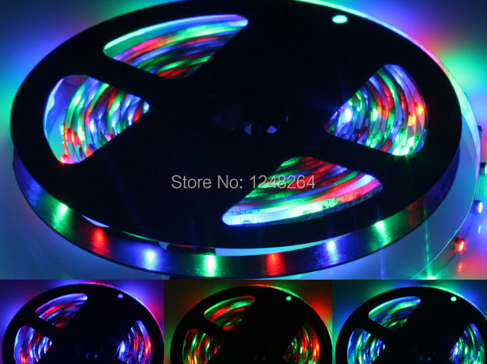 Wholesale Waterproof 5M RGB 3528 Flexible Waterproof 300 Led Strip Light 60LED/M  5M/Roll DC12V 4.8W/M 8MM