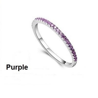 White CZ Diamond Jewelry Wedding Rings for Women Sterling Silver Crystal Anel Feminino Ruby Jewellery Purple