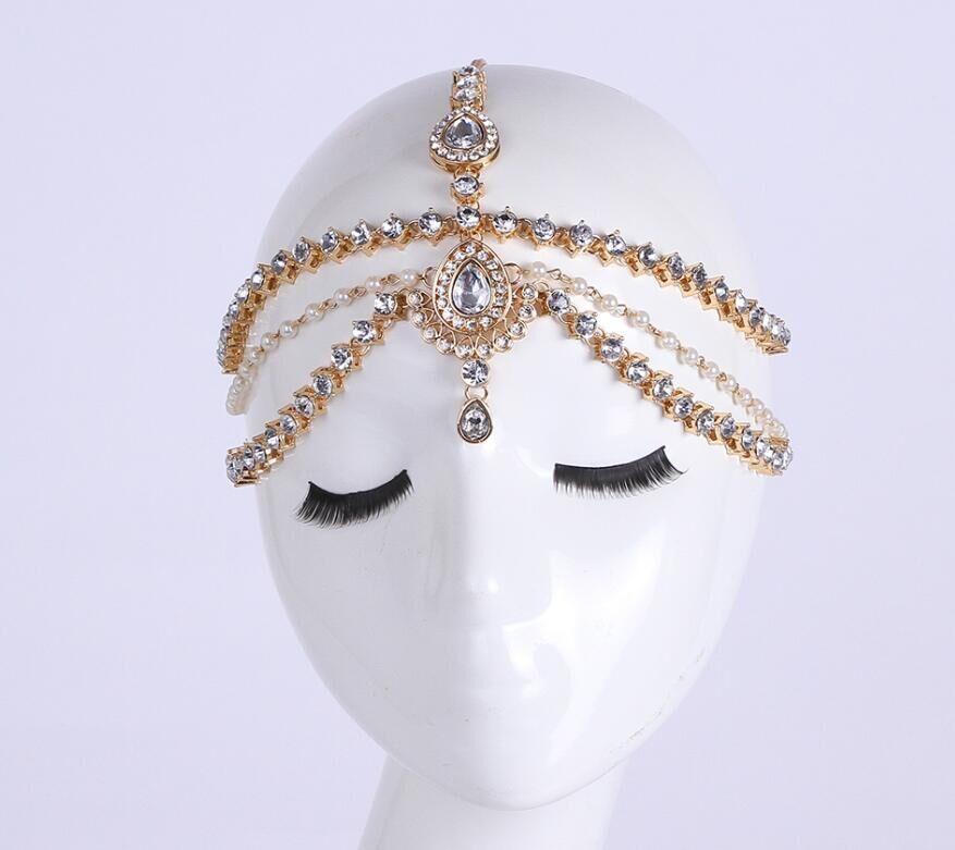 Handmade Kundan stones & pearl hair chain Grecian style head chain head jewellery(China (Mainland))