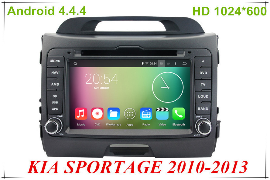 """Android 4.4.4 HD 1024*600 Quad core 1.6GHz Nand Flash 16GB 7"""" Car DVD player For Kia SPORTAGE 2010-2013(China (Mainland))"""