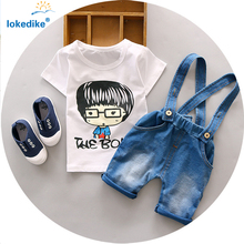 2016 New Fashion Toddler Boys Clothing Summer Children Kids Boys Clothes Cartoon Boys Clothing Set Suspender Jeans Pants T549