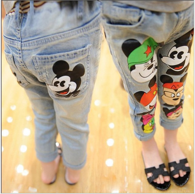 2016 Tide Cotton Cartoon Kids Mickey Pants For Girls Skinny Children Baby Girl Jeans Pants Korean Spring Fashion Clothes(China (Mainland))
