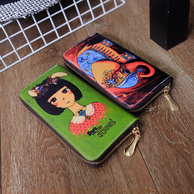 Manufacturers Selling Bags Of Young Artists Europe Retro Characters Printing Brand Long Wallet Card Package Bag(China (Mainland))