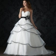 Romantic 2016 New White & Black Ball Gown Wedding Dress vestidos de noiva Organza Bridal Gowns Luxury Wedding gowns for Bride(China (Mainland))