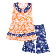 2016 Brand New Children Girl Clothing Spring Summer Printing Sleeveless Blouse &Dot Designed Pants Kids Clothes Sets LF16 BB