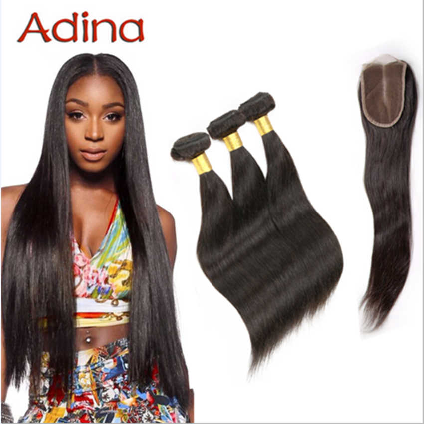 Sexy Formula Hair Brazilian Straight Lace Closure Hair 3 Bundles With Free Part Closure 4*4 Brazilian Virgin Hair Lace Closure