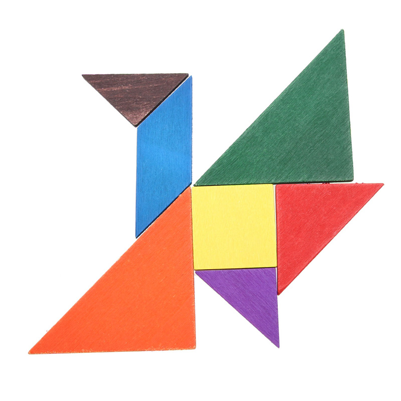 Colorful Brain Teaser Jigsaw Puzzle Wooden Tangram Toys Intelligence Kids Children Educational Toy(China (Mainland))