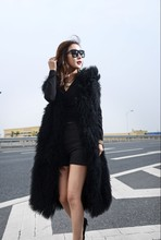European and American Top Fashion Ultra Long 80cm Genuine mongolian Lamb Fur vest Various Color Customzied winter Gilet(China (Mainland))
