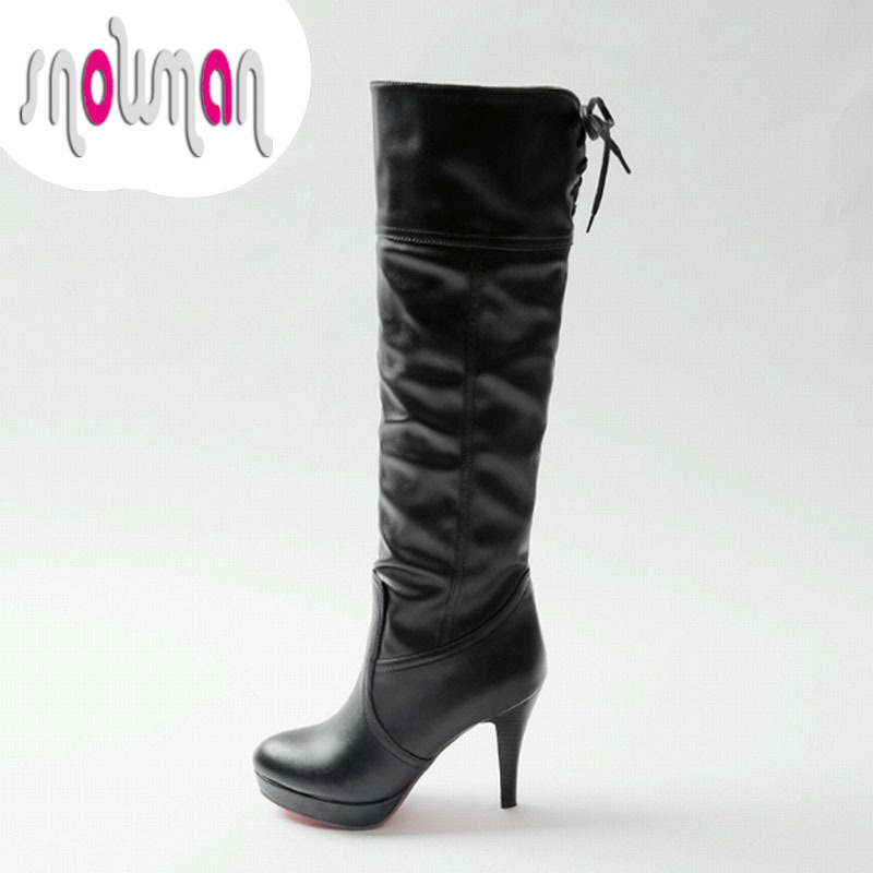 Fashion Lace up Pleated Knee High Boots Red Bottom High Heels Knight Boots Platform Shoes Woman Add fur Autumn Winter Boots