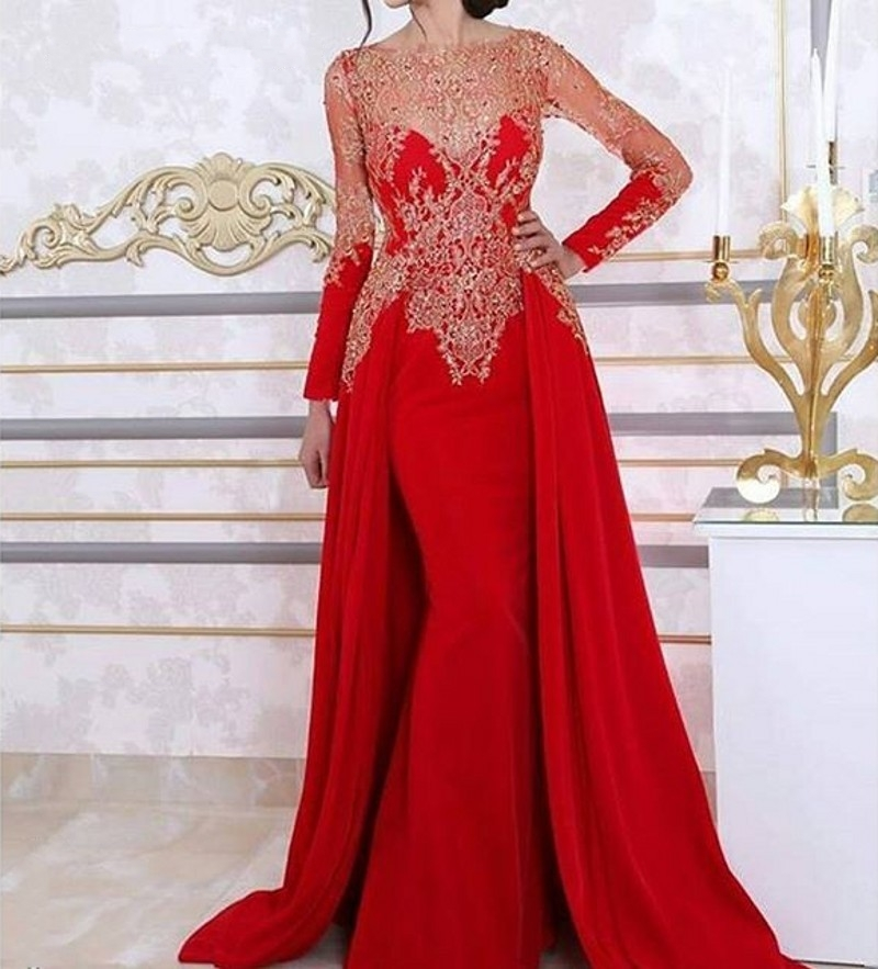 Red Long Sleeve Evening Dress With Detachable Skirt 2016 Lace Beading Sequin Arabic Women Dress Formal Evening Gown(China (Mainland))