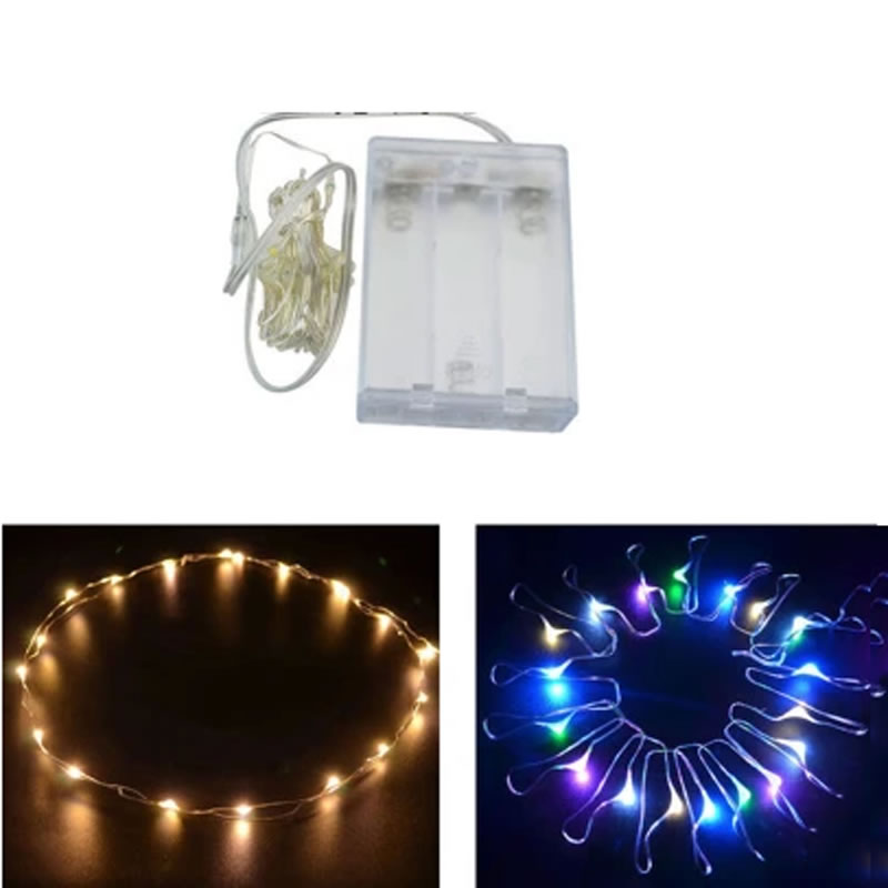 5m 50 LED String Silver Wire Fairy Lights Battery Powered Waterproof Xmas Lights Party Wedding(China (Mainland))