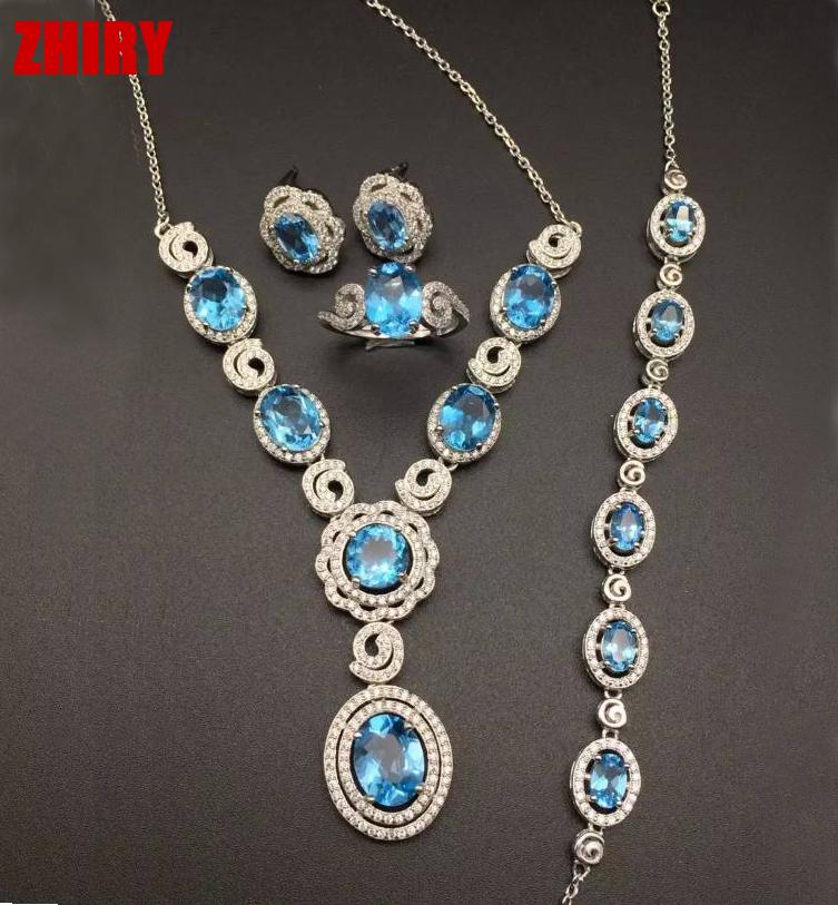 natural topaz set Real gem stone jewelry solid 925 sterling silver sets Women sky blue white gold plated(China (Mainland))