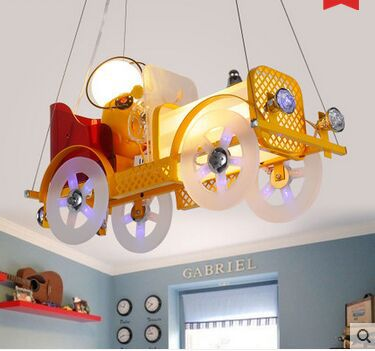 Modern new romantic bedroom, living room, dining room, study, children's room cartoon car chandelier(China (Mainland))