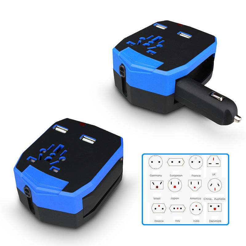 Universal AC International Travel Power Charger Wall Adapter Plug US/EU/UK/AU with 2.5A Dual USB Charging Ports and Car Charger