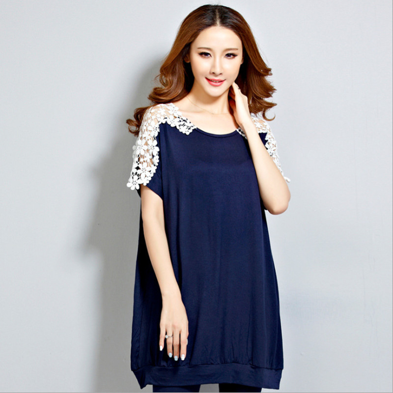 2016 summer new large size maternity pregnant women loose cotton short-sleeved T-shirt was thin hollow lace shirt pregnant<br><br>Aliexpress