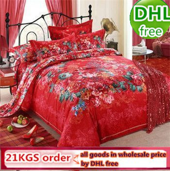 DHL 100% cotton red wedding bedding set king size brand 4pcs/set bed set modern king size duvet/mattress cover/ pcspillowcase(China (Mainland))