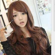 Sexy Women Long Wavy Hair With Bangs black brown synthetic wigs Human Full Wigs Heat Resisitant Fiber fibre hair wig peluca(China (Mainland))