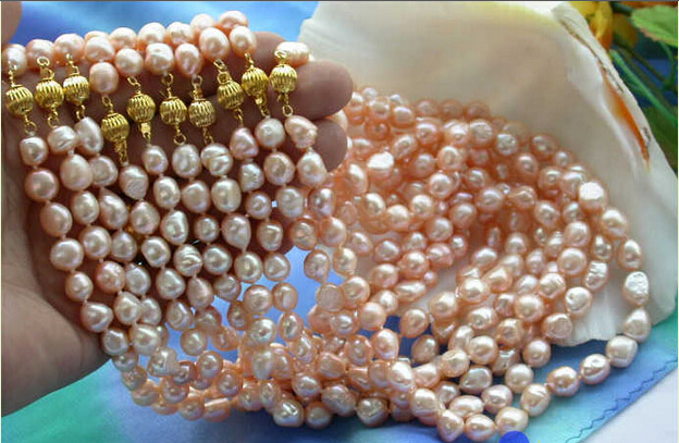 shipping wholesale 10item pink baroque freshwater pearl necklace P2319<br><br>Aliexpress