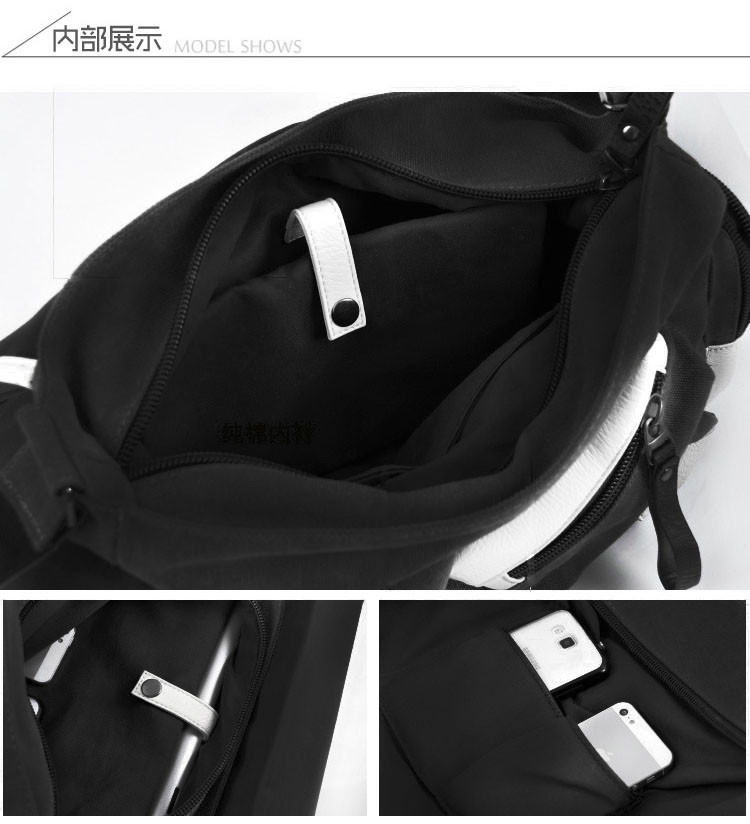 Anime DRAMAtical Murder DMMD Cosplay Messenger Bag Patent Leather+Canvas Travel Crossbody Bags