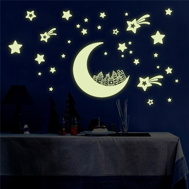 Latest Kids Room Decor Glow In The Dark Decal Shiny Moon