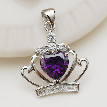Fashion Jewelry Women's Pentdants 925 Sterling Silver Crown Natural Crystal Amethyst Necklace Pendant(Not Contain Chain)(China (Mainland))