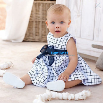 Free Shipping 1pcs Infant Toddler Kid Children Baby Girl Cotton Top Plaids Dress Outfit Sets Suits Clothes Bow Blue White 0-3Y