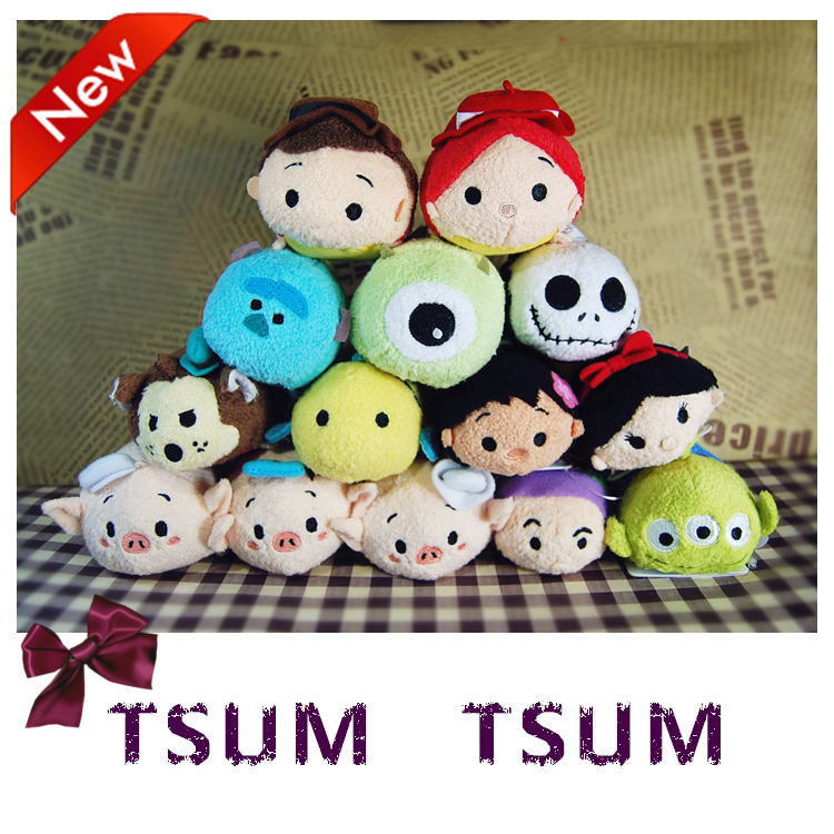 3Inch TSUM TSUM Mini Elsa Mermaid Alice Sully Lilo Stitch Plush Toys pendant doll phone Baby