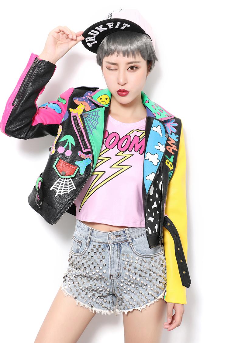 Luxury Spring Autumn Women Colorful Printed PU Leather Short Top Jacket Coat Ladies Motor Biker Jacket Best Gift for Girlfriend(China (Mainland))