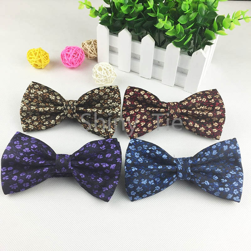 2016 Mens New Floral Bow tie Soft Cotton Bussiness Bowknot Double Sides 4 Colors Skinny Butterfly(China (Mainland))