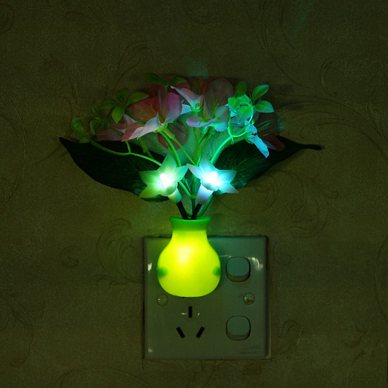 US Plug Energy Saving 7 Color Changing Led Light Control Cherry Flower Night Light Lamp(China (Mainland))
