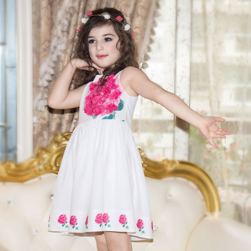 Girl Dresses Summer 2016 Little Girls Appliques Dresses Kids Party Dress for Girls Solid Clothing Baby Girls Birthday Dress(China (Mainland))