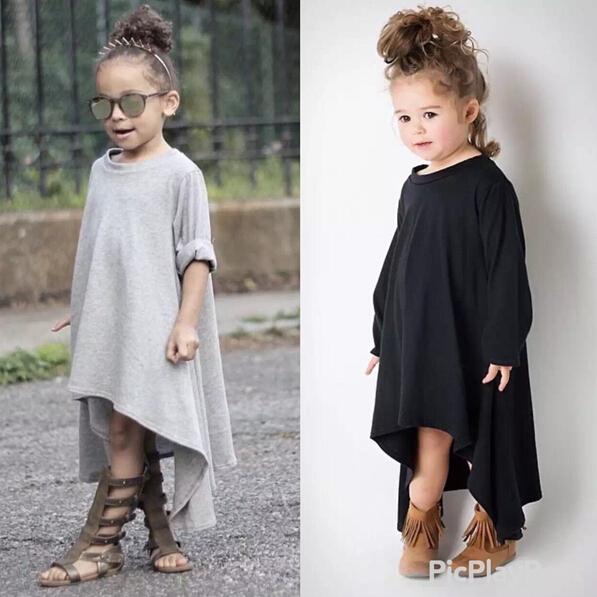 Autumn Girl Dress Irregular Hem Long Sleeve Black Gray Dress For Kids Baby Girls vestido da menina(China (Mainland))