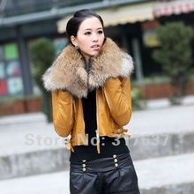 2014 Women's Genuine Leather Cotton Jacket  Sheepskin Short Coat With Detached Raccoon Fur Collar Leopard Yellow Black White Red