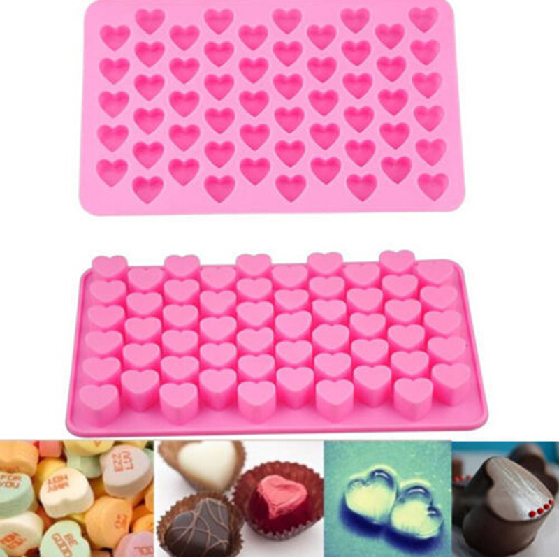 Silicone 55 Heart Cake Chocolate Cookies Baking Mould Ice Cube Soap Mold Tray HI(China (Mainland))
