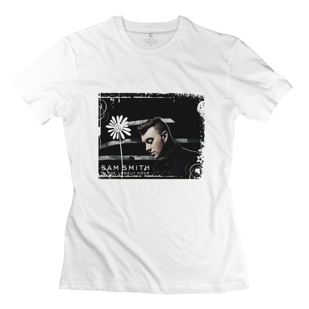 2015 Leisure Sam Smith In The Lonely Hour Tour Girls t shirt Modern Short Sleeve 100% Cotton Lady's tshirt Free Shipping(China (Mainland))