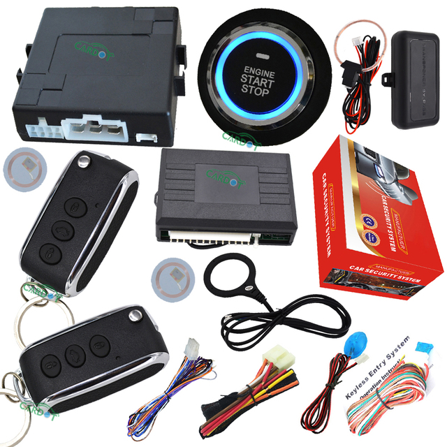 flip key remote car alarm  system with rfid invisible immobilizer protection engine start stop button