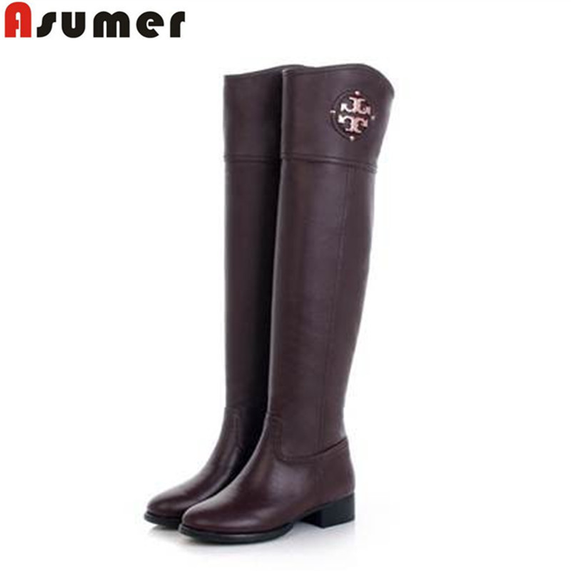 AISIMI pointed toe new arrive motorcycle boots comfortable square heels lady boots popular genuine leather over the knee boots<br><br>Aliexpress