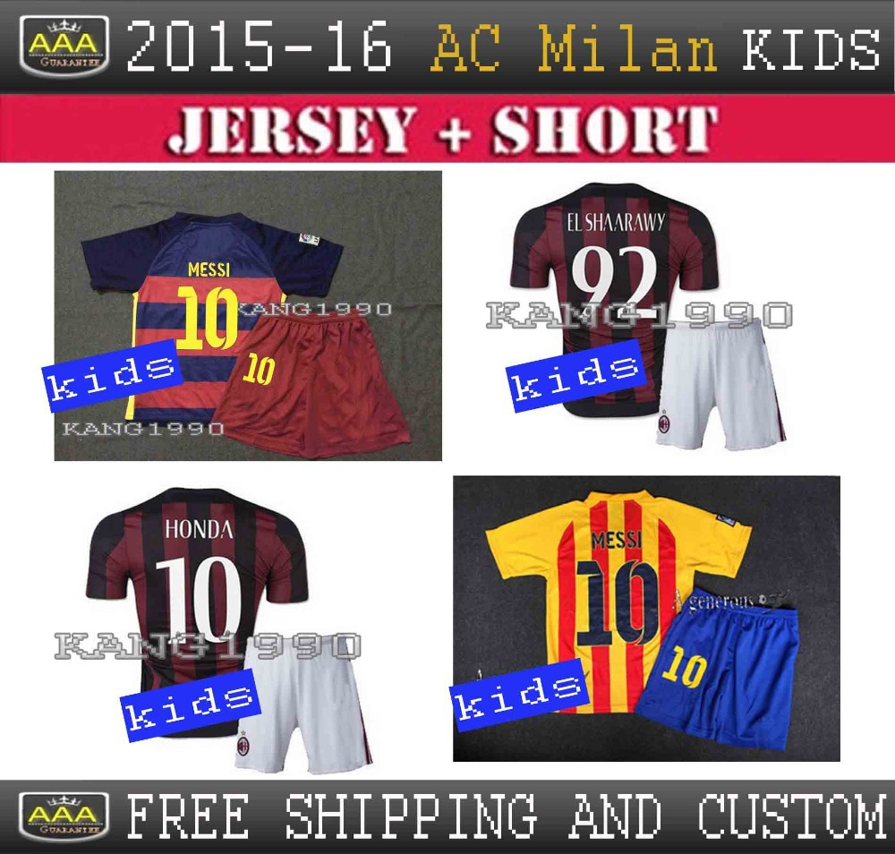 Top quality 2015 - 2016 AC milan home kids kit, kids soccer clothes, Ac milan 15 16 KAKA Menez El Shaarawy boys soccer jersey(China (Mainland))