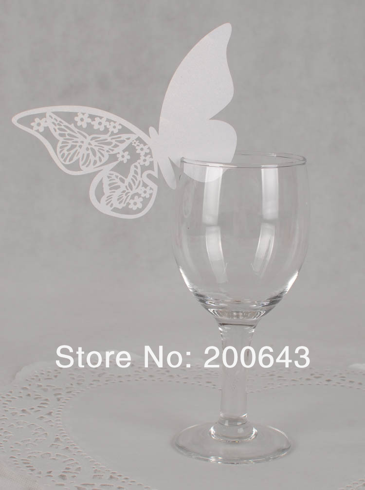 300pcs/lot White butterfly wine glass place cards,Laser Cutting Wedding Butterfly name place cards Free shipping(China (Mainland))